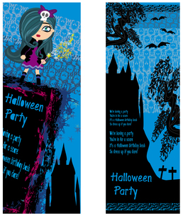halloween invitation with a beautiful witch and the creepy castleの写真素材 [FYI00640100]