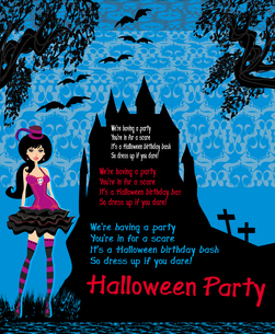 halloween invitation with a beautiful witchの写真素材 [FYI00640101]