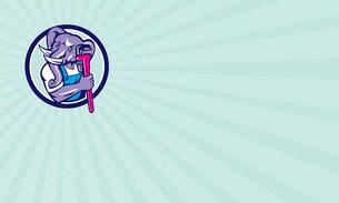 Business card Elephant Plumber Mascot Monkey Wrench Circle Retroの写真素材 [FYI00640947]