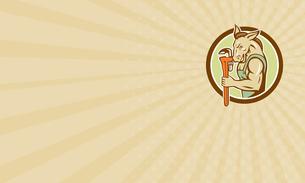 Business card Donkey Plumber Monkey Wrench Circle Retroの写真素材 [FYI00640954]