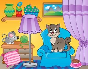 Room with cat on armchairの素材 [FYI00641071]