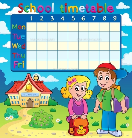 School timetable with two childrenの写真素材 [FYI00641075]