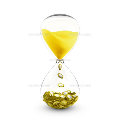 Time is money concept. Hourglass that transforms time to coins.の写真素材 [FYI00641181]
