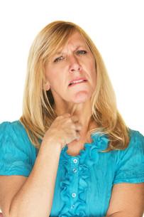 Uncertain Blond Womanの写真素材 [FYI00641265]
