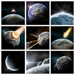 Meteorite impact on a planet in spaceの写真素材 [FYI00641316]
