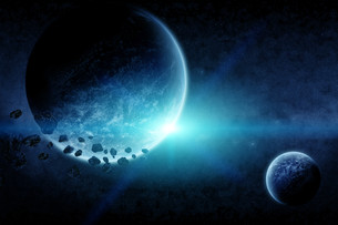 Meteorite impact on a planet in spaceの写真素材 [FYI00641327]