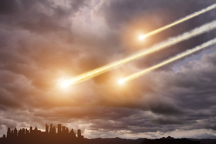 Meteorite impact on a planet in spaceの写真素材 [FYI00641347]