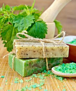 Soap homemade with nettles in mortar on boardの写真素材 [FYI00641926]