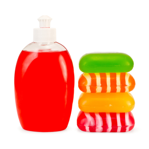 Soap liquid red and stack solid soapの写真素材 [FYI00641950]