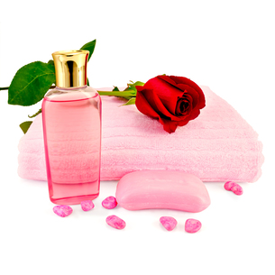 Shower gel with soap and a roseの写真素材 [FYI00641969]