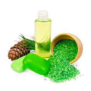 Shower gel and soap with cedar conesの写真素材 [FYI00641975]