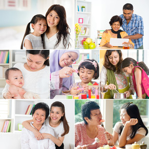 Collage photo of mothers and offspringsの写真素材 [FYI00642124]