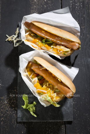 nyc food trend - asia hot dog,hot dog,mung sprouts,thai curry sauce,carrots,lettuce,studioの写真素材 [FYI00642299]