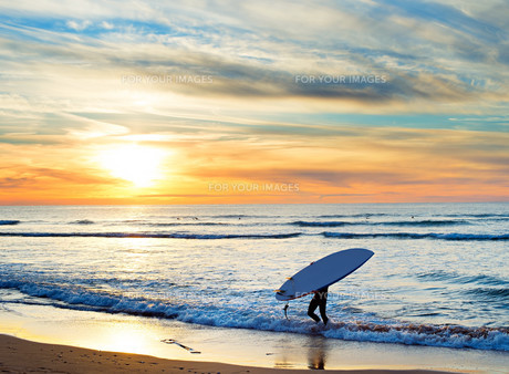 Paddle surfing, Portugalの素材 [FYI00642413]