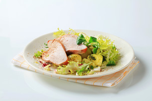 Roast turkey breast and potatoesの写真素材 [FYI00642614]