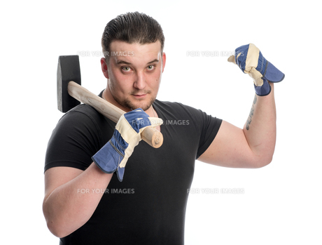 strong man with sledgehammerの素材 [FYI00642788]