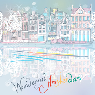 Vector Christmas Amsterdam canal and typical housesの写真素材 [FYI00642816]