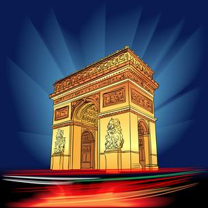 Vector Arch of Triumph Paris at nightの写真素材 [FYI00642817]