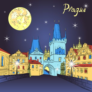Charles Bridge in Prague (Czech Republic) at night lightingの写真素材 [FYI00642818]
