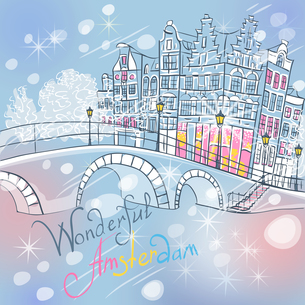 Vector Christmas Amsterdam canal and typical housesの写真素材 [FYI00642819]