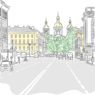 Vector Cityscape, the wide avenue with views of the churchの写真素材 [FYI00642820]