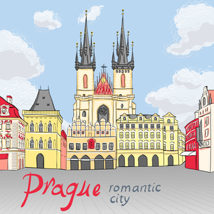 Vector Old Town square in Prague, Czech Republicの写真素材 [FYI00642823]
