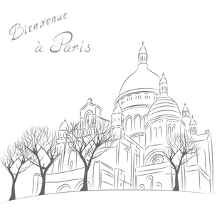 Vector sketch of cityscape with Sacre Coeur in Parisの写真素材 [FYI00642824]