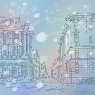 Vector winter Christmas Cityscape, the wide avenue in the city cの写真素材 [FYI00642825]