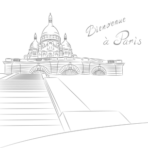 Vector sketch of cityscape with Sacre Coeur in Parisの写真素材 [FYI00642826]