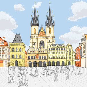 Vector Old Town square in Prague, Czech Republicの写真素材 [FYI00642827]