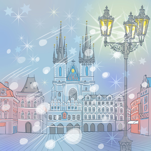 Vector winter Old Town square in Prague, Czech Republicの写真素材 [FYI00642828]