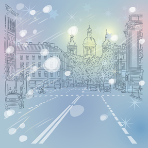 Vector Christmas winter Cityscape, avenue with views of the churの写真素材 [FYI00642830]