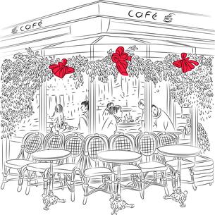 vector sketch of the Parisian cafeの写真素材 [FYI00642831]