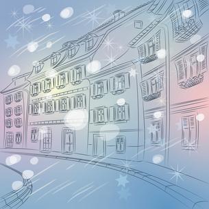 Vector Christmas winter cityscape of old European cityの写真素材 [FYI00642837]