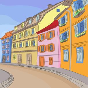 Vector cityscape of old European cityの写真素材 [FYI00642838]