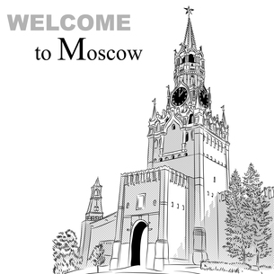 Vector black and white sketch of the Moscow Kremlin, Russiaの写真素材 [FYI00642840]