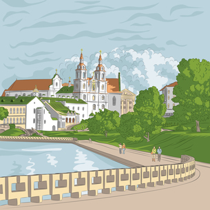 Vector sketch of a old town, cityscape with church and riverの写真素材 [FYI00642841]