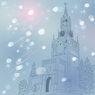 Vector winter Christmas cityscape of the Moscow Kremlin, Russiaの写真素材 [FYI00642842]