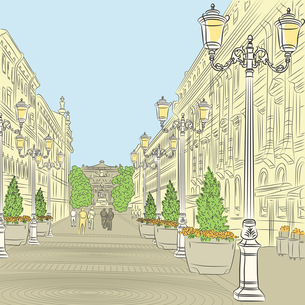 Vector Cityscape, the wide avenue with vintage buildings and beaの写真素材 [FYI00642843]