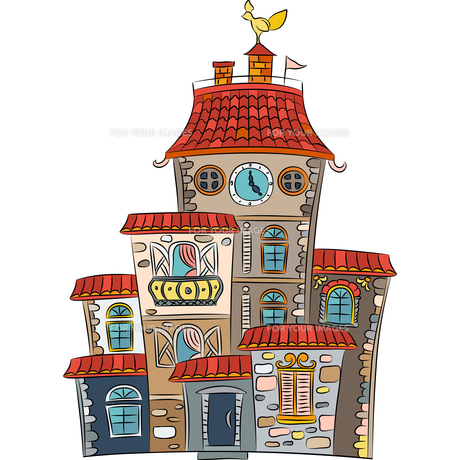 Vector fairytale multicolored houseの写真素材 [FYI00642844]