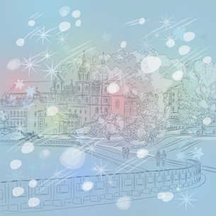 Vector winter Christmas cityscape with church and riverの写真素材 [FYI00642845]