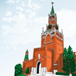 Vector sketch of the Moscow Kremlin, Russiaの写真素材 [FYI00642849]