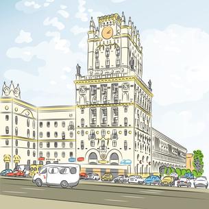 Vector color sketch of a city-centerの写真素材 [FYI00642850]