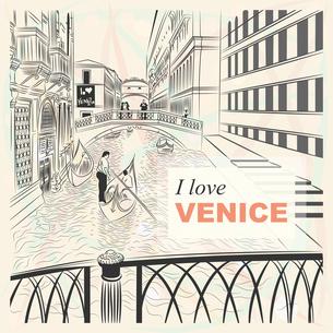 vector sketch of a landscape the Bridge of Sighs in Veniceの写真素材 [FYI00642851]