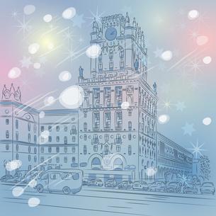 Vector Christmas winter cityscape of a city-centerの写真素材 [FYI00642852]