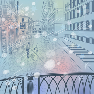 vector winter Christmas cityscape with  the Bridge of Sighs in Vの写真素材 [FYI00642856]
