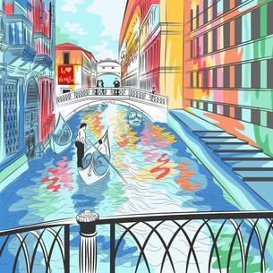 vector landscape the Bridge of Sighs in Veniceの写真素材 [FYI00642857]