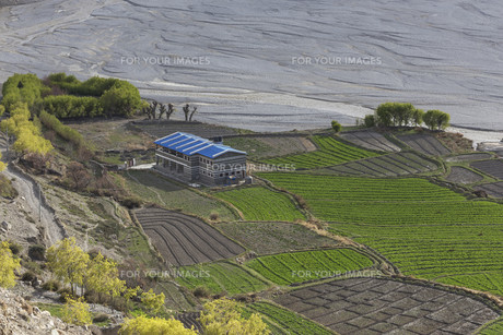 Kagbeni city in lower Mustang district, Nepalの写真素材 [FYI00643351]