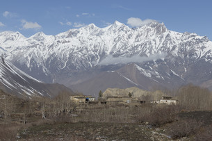 Local houses at Muktinath village in lower Mustang district, Nepalの写真素材 [FYI00643353]