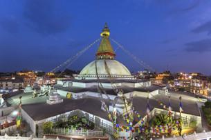 Boudhanath Stupa in Kathmandu, Nepalの写真素材 [FYI00643356]